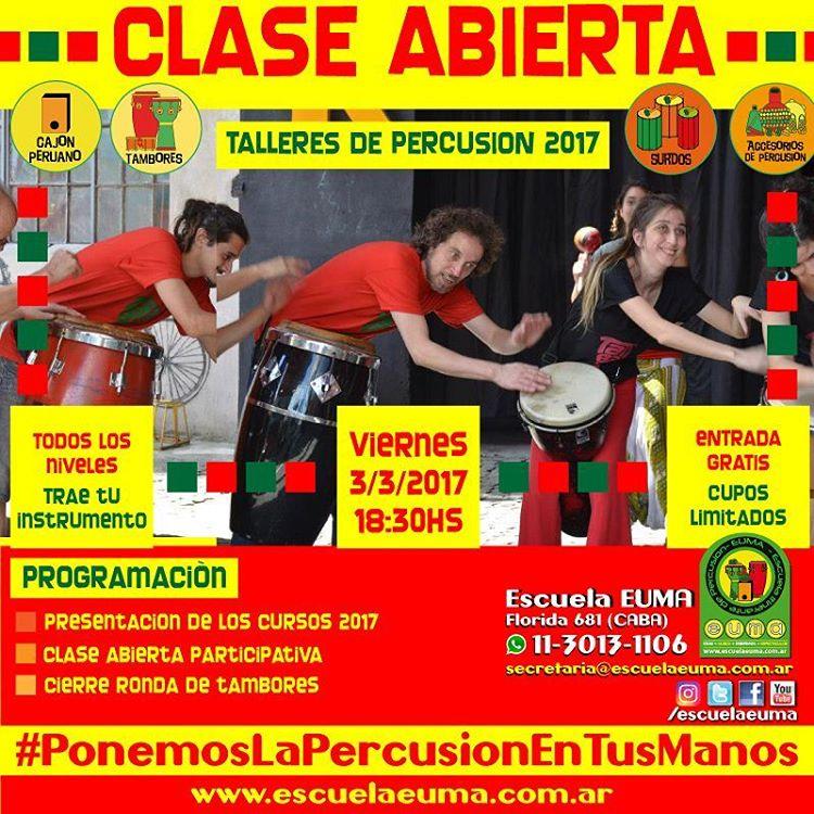 Escuela EUMA Clase Abierta Gratuita Presentacin de Cursos de Percusinhellip